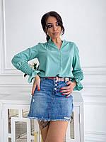 Джинсовая мини юбка с потертостями и поясом в комплекте