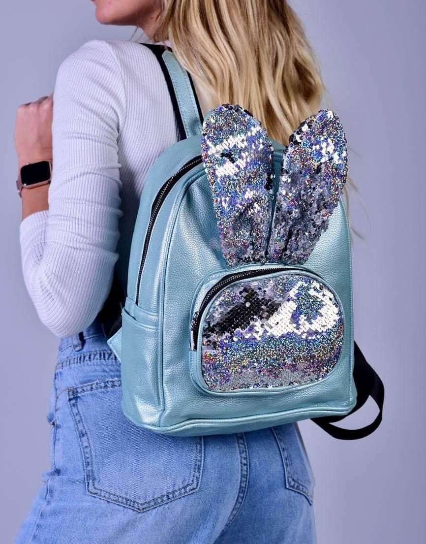Женский бирюзовый рюкзак с ушками код 7-809