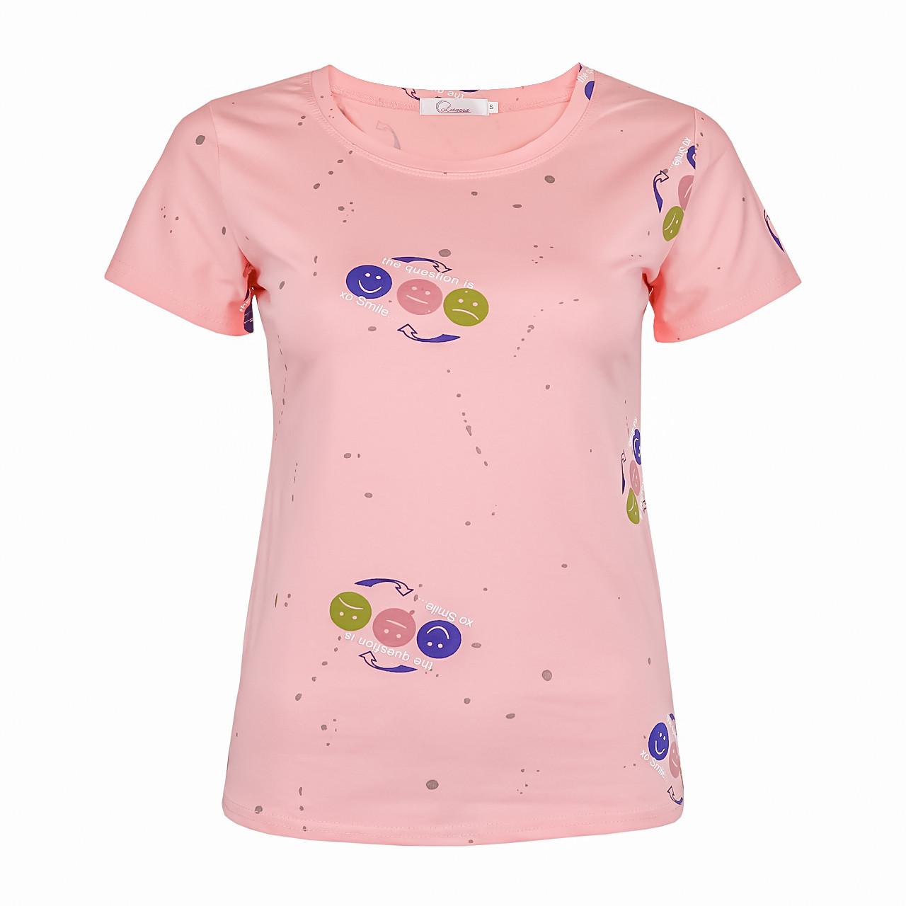Футболка жіноча однотонна тканина «Смайлики», Рожева