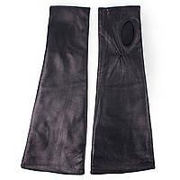 Модные женские митенки (кожаные, зимние, черные, на флисе, без пальцев)