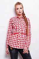 Классическая женская рубашка в крупную красную клетку с поясом