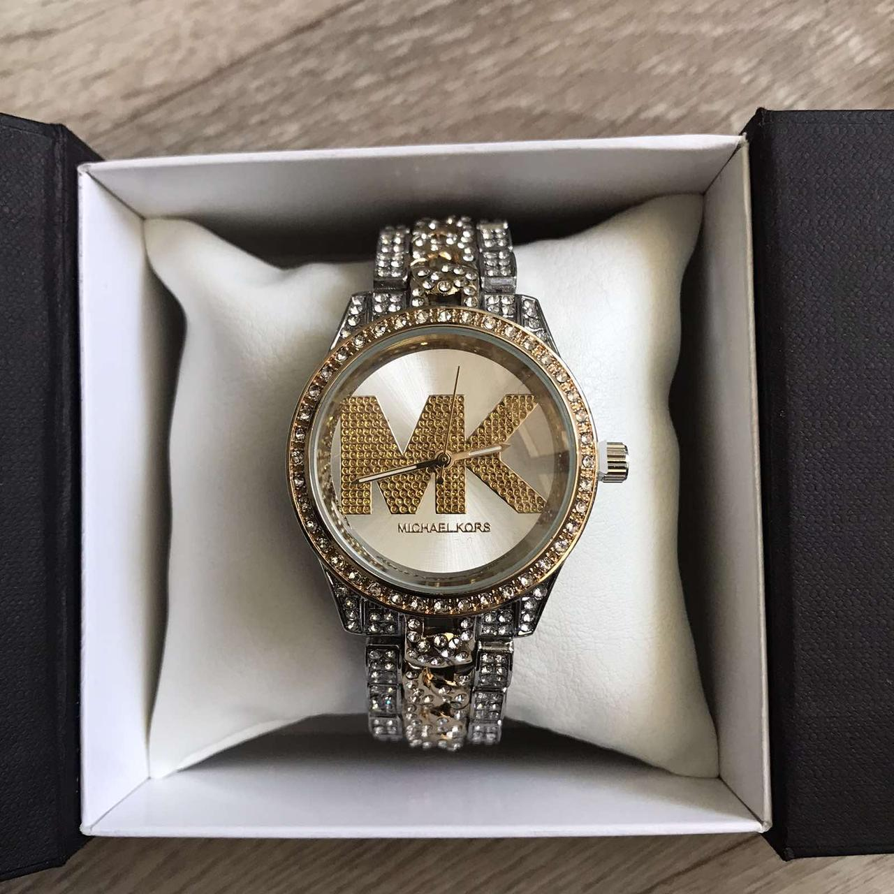 Жіночі годинники Michael Kors якісні репліка. Брендові наручний годинник з камінням золотисті сріблясті