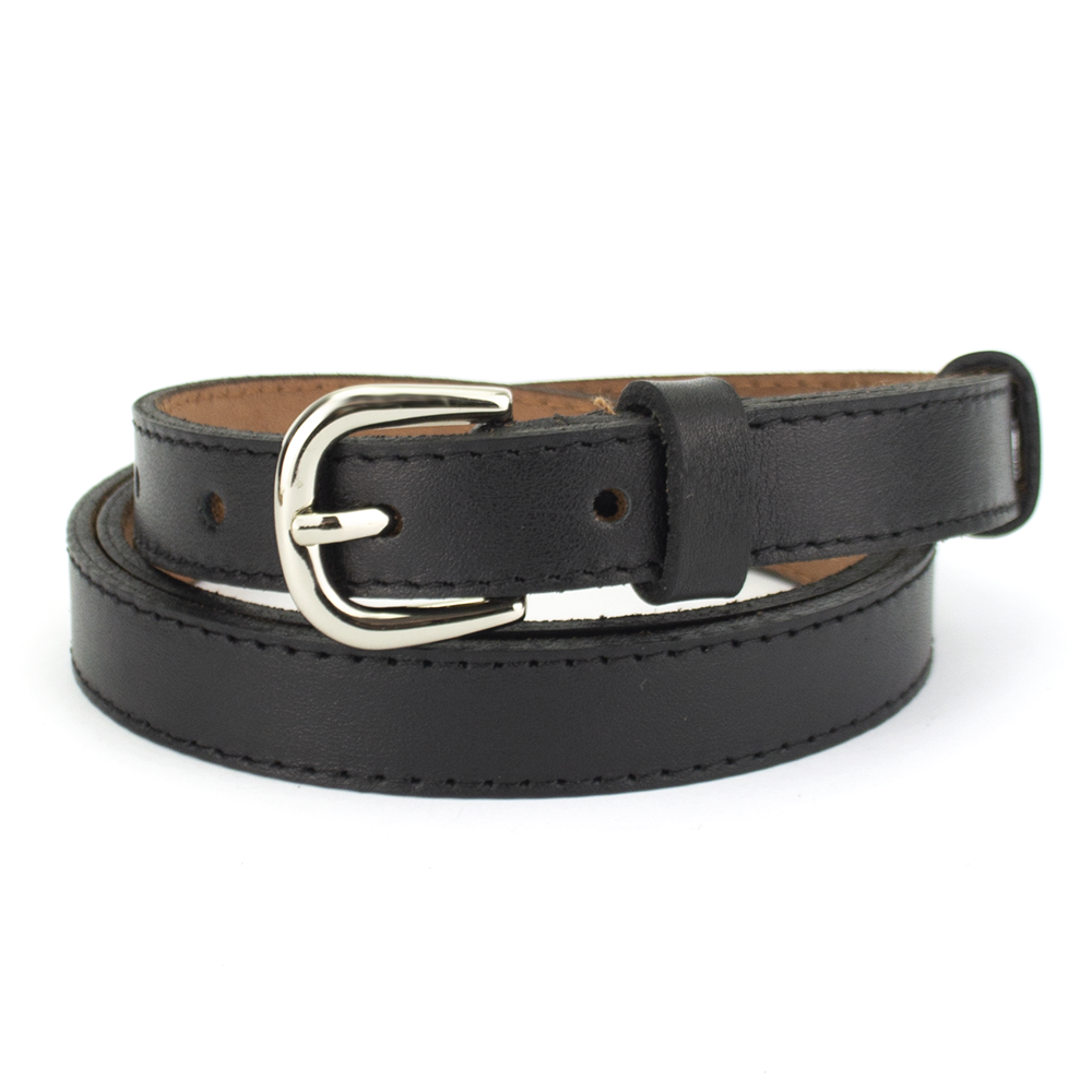 Ремень женский кожаный узкий черный PS-2082 black (110 см)