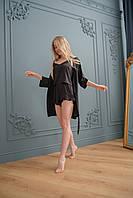 Халат женский шелковый черного цвета