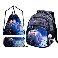 Дошкільний рюкзак для хлопчика сірого кольору з красивим малюнком Набір шкільний ранець+пенал+мішок для взуття