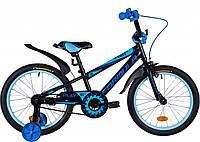 """Велосипед детский с боковыми колесами Formula Sport 18"""" черно-синий"""