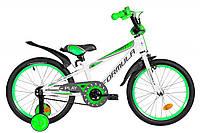 """Велосипед детский с боковыми колесами Formula Sport 18"""" бело-зеленый"""