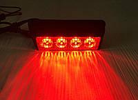 Проблисковий сигнальний червоний LED стробоскоп/маячок в решітку .бампер.Проблисковий маячок для авто -12-24V, фото 1