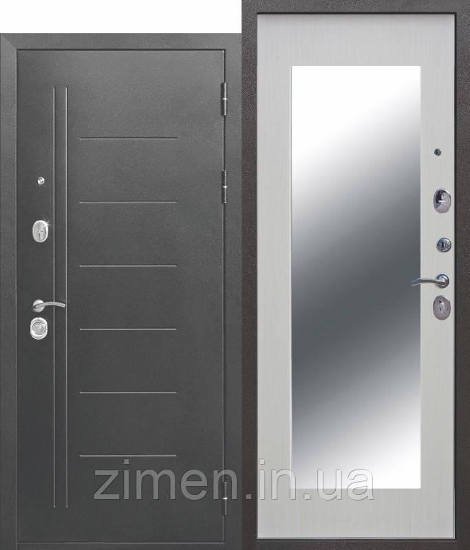Входная дверь 10 см Троя Серебро МАКСИ зеркало Белый ясень