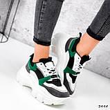 Женские кроссовки на массивной подошве 7 см зеленые, фото 3