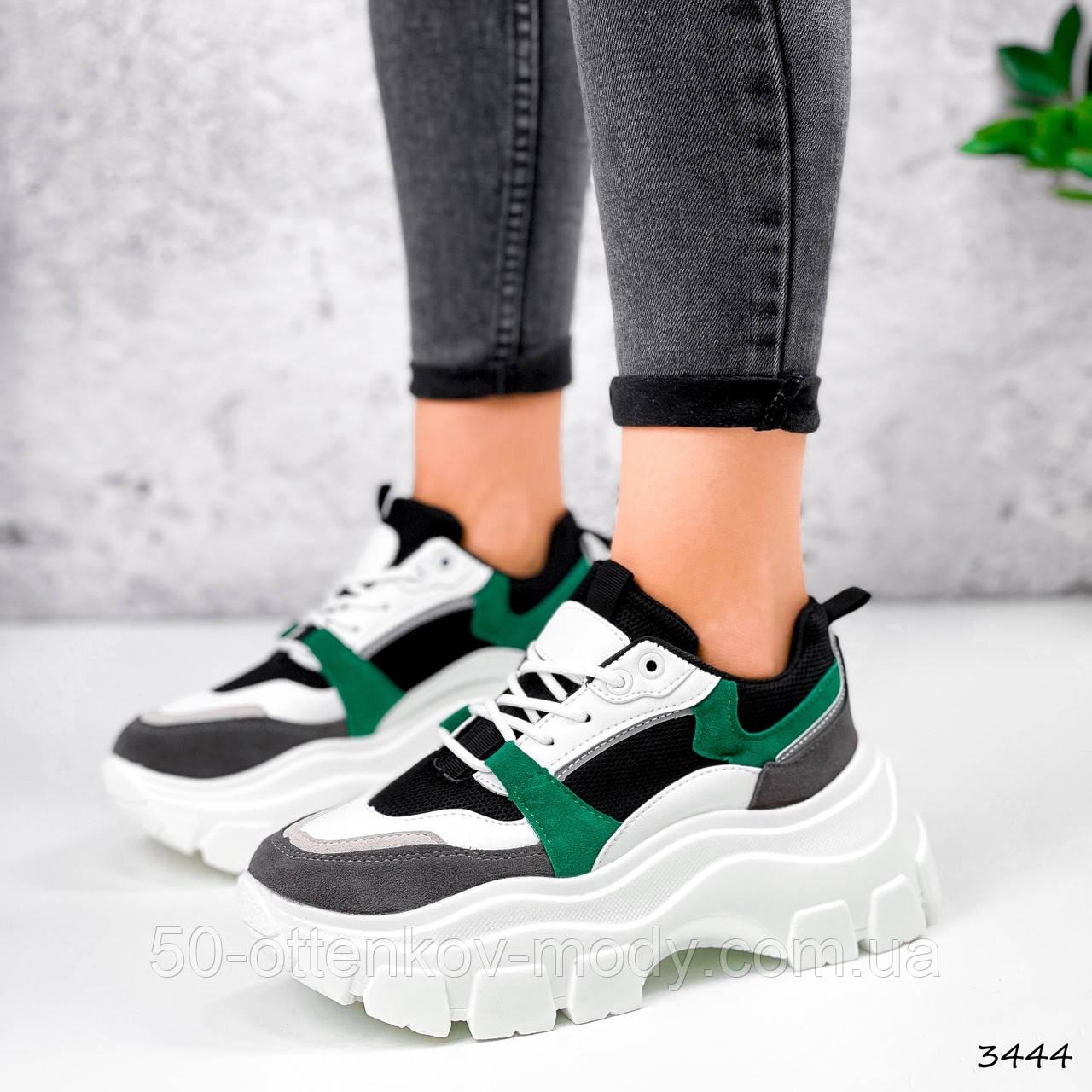 Женские кроссовки на массивной подошве 7 см зеленые