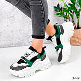 Женские кроссовки на массивной подошве 7 см зеленые, фото 4