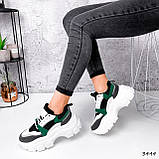 Женские кроссовки на массивной подошве 7 см зеленые, фото 2