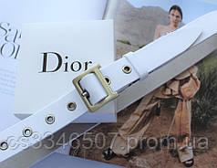Жіночий ремінь Dior пряжка бронза ширина 2.8 см білий