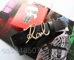 Шкіряний жіночий ремінець Karl Lagerfeld пряжка золото чорний