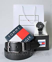Чоловічий подарунковий набір Tommy Hilfiger: наручний годинник і шкіряний ремінь black