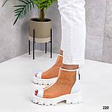 Жіночі черевики білі з помаранчевим ЛІТО - ВЕСНА літні еко шкіра+ сітка, фото 2