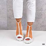Жіночі черевики білі з помаранчевим ЛІТО - ВЕСНА літні еко шкіра+ сітка, фото 3