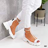 Жіночі черевики білі з помаранчевим ЛІТО - ВЕСНА літні еко шкіра+ сітка, фото 4