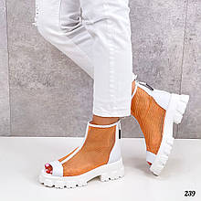 Женские ботинки белые с оранжевым ЛЕТО- ВЕСНА летние эко кожа+ сетка