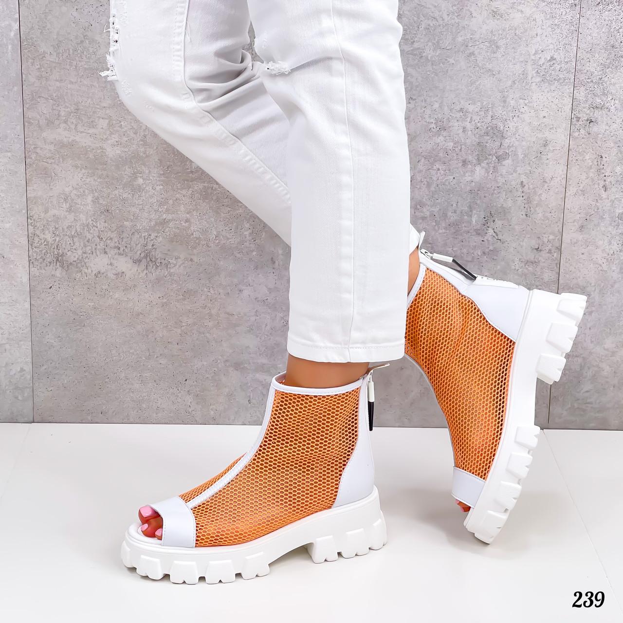 Жіночі черевики білі з помаранчевим ЛІТО - ВЕСНА літні еко шкіра+ сітка