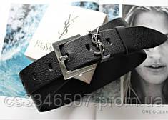 Жіночий ремінь ширина 3.8 см пряжка срібло Yves Saint Laurent чорний