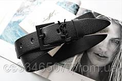 Жіночий ремінь ширина 3.8 см чорна пряжка Yves Saint Laurent чорний