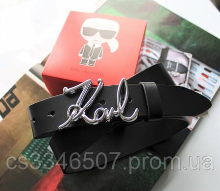Кожаный женский ремешок Karl Lagerfeld пряжка серебро черный, фото 2