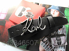 Кожаный женский ремень Karl Lagerfeld черный