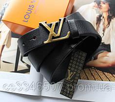 Женский кожаный ремень Louis Vuitton черный (пряжка бронза)