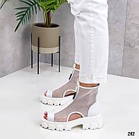 Женские ботинки белые ЛЕТО- ВЕСНА летние эко кожа+ сетка