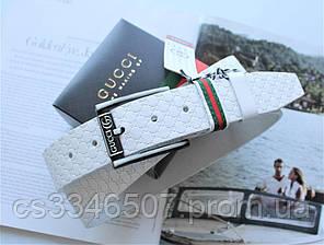 Білий шкіряний ремінь з тисненням Gucci білий, фото 2
