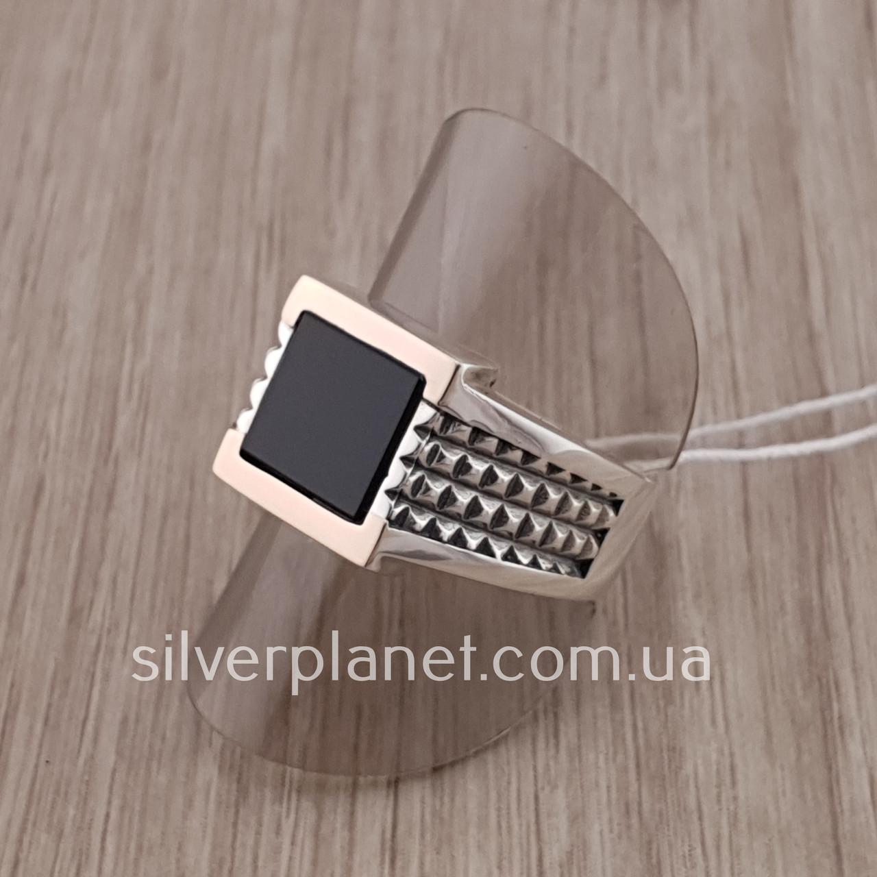 Мужской серебряный перстень размер 21,5. Мужское кольцо с золотой пластиной 375