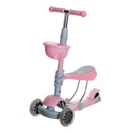 5475 Самокат беговел  с корзинкой(розовый, мятный)