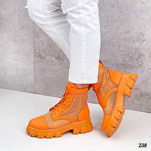 Женские ботинки оранжевые ЛЕТО- ВЕСНА летние эко кожа+ сетка