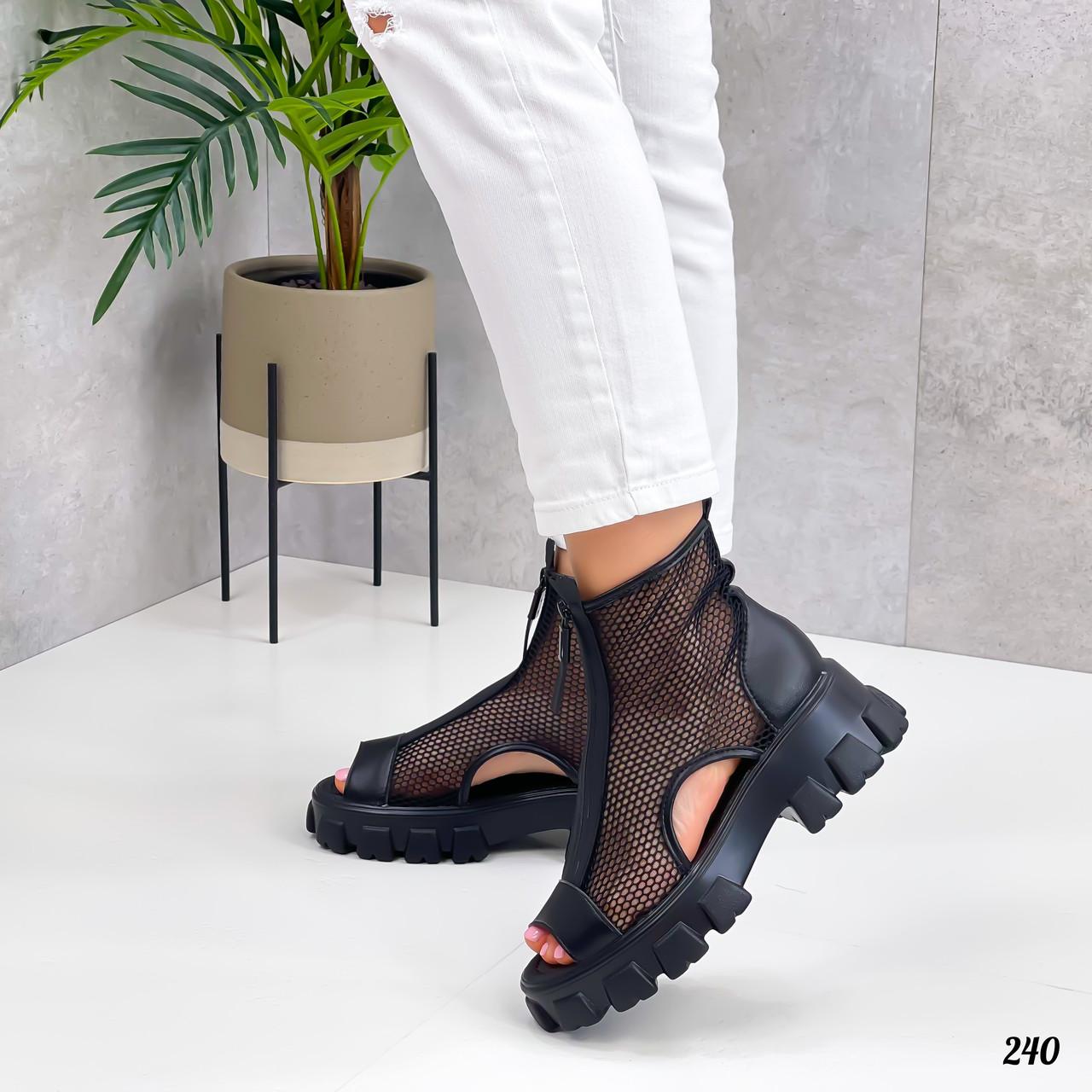 Тільки 38 р! Жіночі черевики чорні літо - річні еко шкіра+ сітка