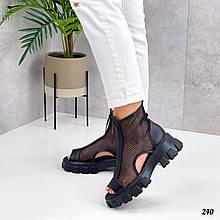 Жіночі черевики чорні літо - річні еко шкіра+ сітка