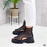 Тільки 38 р! Жіночі черевики чорні літо - річні еко шкіра+ сітка, фото 2