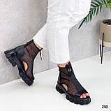 Тільки 38 р! Жіночі черевики чорні літо - річні еко шкіра+ сітка, фото 4