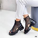 Тільки 38 р! Жіночі черевики чорні літо - річні еко шкіра+ сітка, фото 5