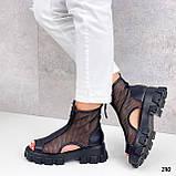 Тільки 38 р! Жіночі черевики чорні літо - річні еко шкіра+ сітка, фото 6