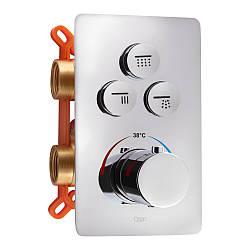 Змішувач термостатичний прихованого монтажу для душу Qtap Votice 6443T105NKC для трьох споживачів