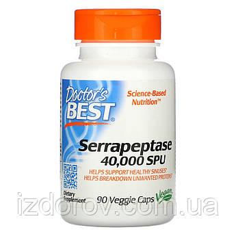 Doctor's Best, Серрапептаза 40 000 SPU, Serrapeptase, 90 растительных капсул
