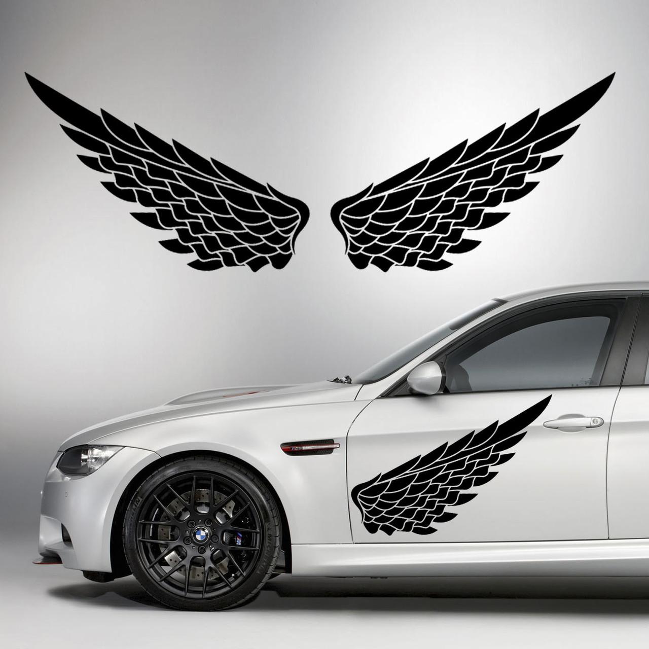 Наклейки КРЫЛЬЯ. Наклейка на авто крылья ангела на двери, на кузов, на капот. Размер 82х28см. Цена за 2шт.!