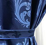 Готовые жаккардовые шторы Шторы из жаккарда Жаккардовые шторы на тесьме Шторы 150х270 Цвет Синий, фото 4