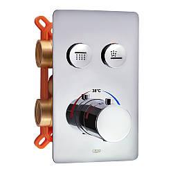 Змішувач термостатичний прихованого монтажу для душу Qtap Votice 6442T105NKC для двох споживачів