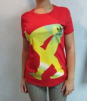 Футболка женская красная  Adidas (88691)  код 86д