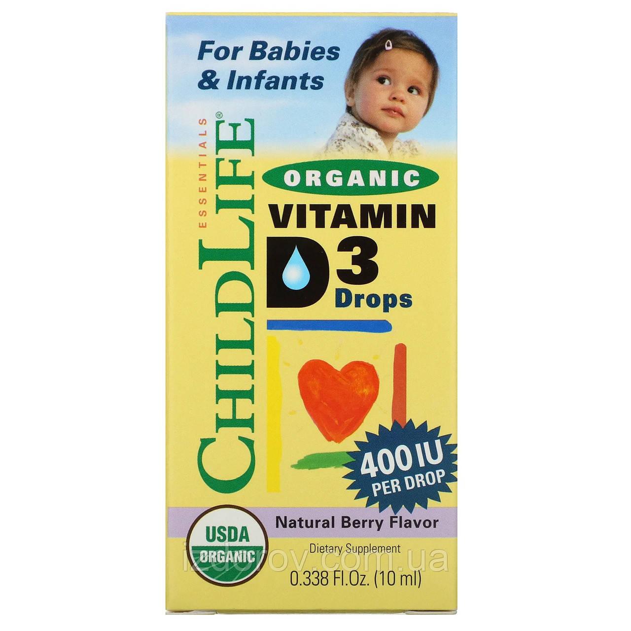 ChildLife, Органический витамин D3 в каплях для детей, натуральный ягодный вкус, 400 МЕ, 10 мл