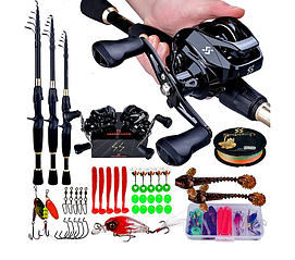 Рибальський набір Sougayilan - 2,1м кастингова вудка, мультиплікаторна котушка, приманки і гачки для правшів