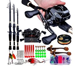 Рибальський набір Sougayilan - 2,4м кастингова вудка, мультиплікаторна котушка, приманки і гачки для правшів